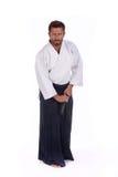 El Aikido principal alista para dibujar la espada Imagen de archivo