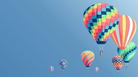El aire caliente colorido hincha el cartel Imágenes de archivo libres de regalías