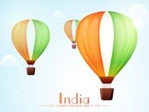 El aire caliente de Tricolours hincha para el día indio de la república stock de ilustración