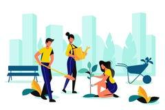 El ajardinar del parque de la ciudad Primavera, trabajos al aire libre del verano Equipo de voluntario que planta en jard?n de la stock de ilustración