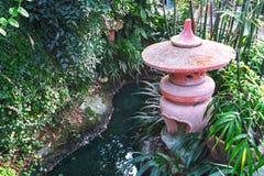 El ajardinar en el estilo japonés Una escultura artificial de la charca y de arcilla fotos de archivo