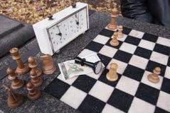 El ajedrez perdió el juego en el parque de Sofía, Bulgaria Imágenes de archivo libres de regalías