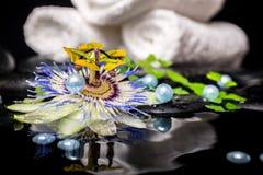El ajuste del balneario de la flor de la pasionaria, helecho de la rama, apiló las toallas, z Fotografía de archivo libre de regalías