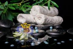 El ajuste del balneario de la flor de la pasionaria, ramas, apiló las toallas, zen Imagen de archivo