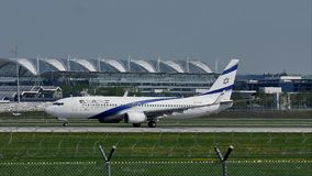 El Al Israel Airlines plane taking off from Munich Airport, MUC. El Al Israel Airlines jet takes off from Munich Airport, Germany stock footage