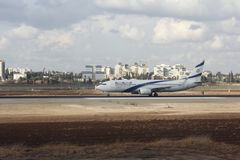 El Al plane at Ben-Gurion Airport Royalty Free Stock Photos