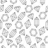 El alambre blanco y negro simple enmarcó los cristales modelo inconsútil, vector del diamante libre illustration