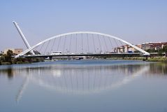 El Alamillo Bridge,  Guadalquivir River, Seville, Spain Royalty Free Stock Image
