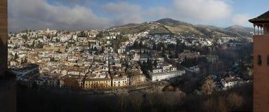 El Albayzin区全景在格拉纳达,安大路西亚,西班牙 库存图片