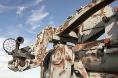 El alcance y el barril en el arma de WWII que aherrumbraba montaron en Liberty Ship Imagen de archivo