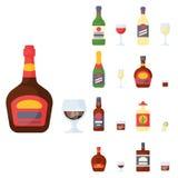 El alcohol bebe ejemplo bebido envase del vector de los vidrios de la cerveza dorada de la botella del cóctel de las bebidas dive Fotos de archivo libres de regalías