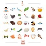 El alcohol, el viaje, los deportes y el otro icono del web en estilo de la historieta edificio, historia, iconos de la pizzería e stock de ilustración