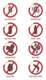 El alergénico libera etiquetas engomadas stock de ilustración