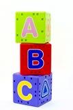 El alfabeto ABC cubica los juguetes educativos Fotografía de archivo libre de regalías