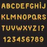 El alfabeto ABC vector la fuente alfabética que brilla intensamente con el ejemplo alfabético de la tipografía de las letras bril stock de ilustración