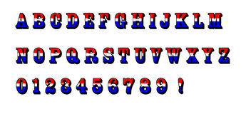 El alfabeto azul blanco rojo pone letras al texto los E.E.U.U. patrióticos Imagen de archivo