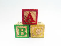 El alfabeto bloquea el deletreo de ABC Imagenes de archivo