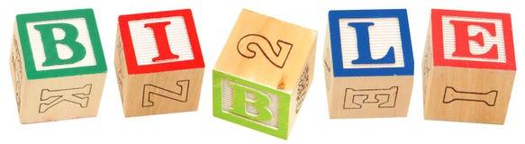 El alfabeto bloquea la BIBLIA Imágenes de archivo libres de regalías