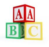 El alfabeto bloquea un fondo blanco Fotografía de archivo