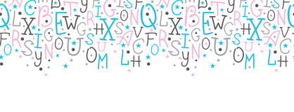 El alfabeto colorido pone letras a la frontera horizontal Foto de archivo libre de regalías