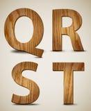 El alfabeto de madera del Grunge letra Q, R, S, T. Vector ilustración del vector