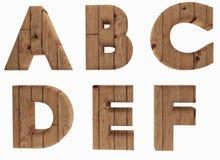 El alfabeto de madera pone letras a la lengua inglesa A B C D E F en 3D para rendir imagen Imágenes de archivo libres de regalías