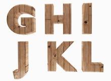 El alfabeto de madera pone letras a la lengua inglesa G H I J K L en 3D para rendir imagen Foto de archivo libre de regalías