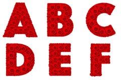 El alfabeto de Rose fijó - A-F de la mayúscula del alfabeto Fotos de archivo libres de regalías