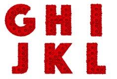 El alfabeto de Rose fijó - la mayúscula G-L del alfabeto Imagenes de archivo