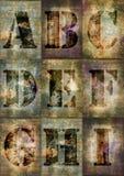 El alfabeto del Grunge letra A a I Imagen de archivo