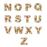 El alfabeto floral [N - Z] fijó Foto de archivo libre de regalías