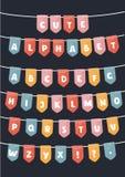 El alfabeto latino del vector señala partidos por medio de una bandera Ilustración del Vector