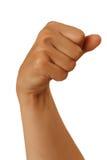 El alfabeto mudo representa una mano en un fondo blanco Fotografía de archivo