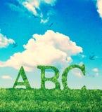 Letras del alfabeto en hierba Fotos de archivo
