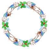 El algodón de la acuarela florece, árbol de acebo y guirnalda azul de la Navidad del invierno de las hojas Imagen de archivo