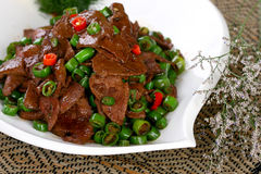 El alimento chino delicioso frió el plato - hígado caliente del cerdo Foto de archivo libre de regalías
