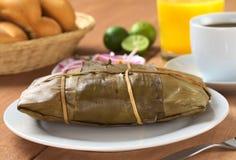 El alimento peruano llamó Tamal Imagen de archivo