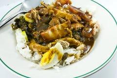 El alimento tailandés es cerdo rojo conocido con arroz Fotografía de archivo