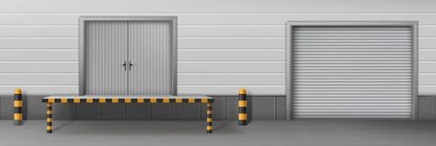 El almacén del negocio cerró vector realista de las puertas ilustración del vector