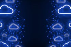El almacenamiento digital de la nube de la seguridad de Internet conecta con el fondo de la red imagen de archivo libre de regalías