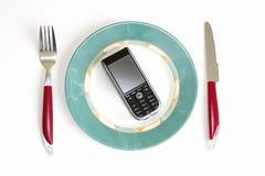 El almuerzo conecta - el alimento moderno Foto de archivo libre de regalías