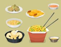 El almuerzo delicioso de China de la comida de la cena de Asia de la cocina de la tradición del plato chino de la comida cocinó e ilustración del vector