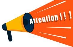El altavoz dice la atención Megáfono con el espacio para el texto de mensaje Megáfono para el cartel, mensajes importantes y Fotografía de archivo libre de regalías