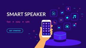 El altavoz elegante, dispositivo del control por voz conectó con el smartphone y los apps útiles ilustración del vector
