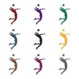 El alto atleta juega a voleibol El jugador lanza la bola adentro el active se divierte el solo icono en la acción negra del símbo Imagen de archivo libre de regalías