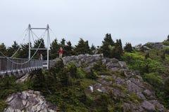 El alto puente de la milla atraviesa un abismo encima de la montaña de abuelo en Carolina del Norte occidental Imagen de archivo libre de regalías