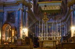 El alto St John Co-Cathedral del Barroco es hoy atracción turística primera de Maltas Foto de archivo libre de regalías