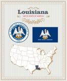 El alto vector detallado fijó con la bandera, escudo de armas Luisiana Cartel americano Tarjeta de felicitación Imagen de archivo libre de regalías