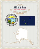 El alto vector detallado fijó con la bandera, escudo de armas, mapa de Alaska Cartel americano Tarjeta de felicitación libre illustration
