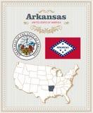 El alto vector detallado fijó con la bandera, escudo de armas, mapa de Arkansas Cartel americano Tarjeta de felicitación Imágenes de archivo libres de regalías